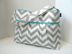 The Monterey Diaper Bag Medium - In Grey Chevron And Aqua - Adjustable Strap and Elastic Pockets