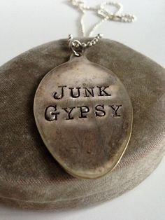 Hand Stamped Junk Gypsy Vintage Spoon Pendant by LaDolfina on Etsy, $18.00