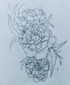 Updated tattoo! Client wanted a few more blossoms :) #tattoo #tattooflash #linework #linetattoo #linedrawing #peonytattoo #peony #floraltattoo #customtattoo