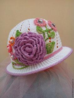 "Шляпка ""Летняя"" - панамка,панамка для девочки,панамка крючком,панамка с цветком"
