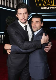 Looks like Kylo Ren and Poe became best pals at the #StarWars premiere. #TheForceAwakens #AdamDrive #OscarIsaac