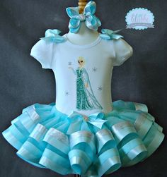 Elsa, Frozen Inspired Tutu Set~WITH or Without a NUMBER~Includes Top or Onesie, Tutu, and Hair Accessory~STUNNING! on Etsy, $69.99