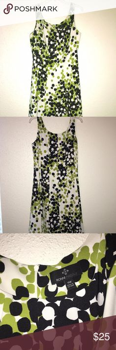 Sleeveless dress, size 14W This is a pretty spring/summer dress that is sleeveless and has a zipper on the back.  It is size 14W and is about mid length.  It has lime green and black dots with a white background. Ronni Nicole Dresses Midi
