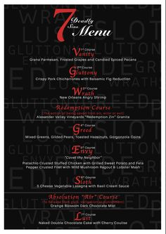 Seven Deadly Sins Menu Birthday Dinner Menu, Dinner Party Menu, Dinner Club, Wine Dinner, Dinner Themes, Supper Club, 7 Course Meal, Mystery Dinner Party, Halloween Menu