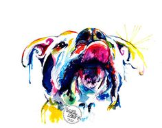 "Perros colorido pintura - pitbull, boxer, mutt - ""lengua hacia fuera"""