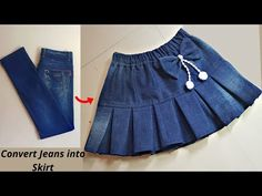 DIY Convert/Reuse old Jeans into beautiful skirt/jeans reuse idea/@Style by Radhika - YouTube Girls Skirt Patterns, Baby Clothes Patterns, Dress Sewing Patterns, Kids Frocks Design, Baby Frocks Designs, Frocks For Girls, Dresses Kids Girl, Stylish Dress Designs, Stylish Dresses