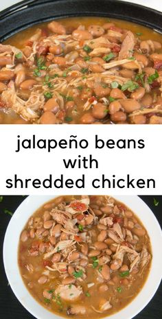 Jalapeño beans with shredded rotisserie chicken - healthy, easy weeknight meal! This 5 ingredient bean recipe tastes like you cooked these beans all day, but it only takes about an hour. The gravy is divine and begs for cornbread. Slow Cooker Recipes, Crockpot Recipes, Soup Recipes, Dinner Recipes, Cooking Recipes, Healthy Recipes, Healthy Food, Drink Recipes, Recipies