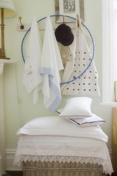 Matteo's room -vintage linen, hangers, a sailor's bag and the Greek island cap bought back from the place of my birth
