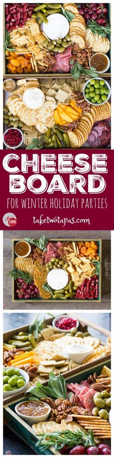 The perfect addition to any winter holiday party is a cheese board! Full of fruits meats cheeses nuts and olives it
