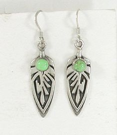 Authentic Native American sterling silver and Gaspeite wire earrings by Navajo artist Ervin Hoskie