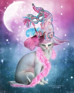 Who knew That cats like to wear Feather boas and fancy hats And play dress up, too With feathers and plumes A sparkling moon and star jewels Even a kitty mask All in pink and blue Imagine all that Atop a cat in a fancy white hat.  Cat In Fancy Witch Hat 4 prose by Carol Cavalaris  This artwork of a whimsical white cat in a fancy witch hat decorated with feathers and jewels, is from the Cat In Fancy Hats Collection of art by Carol Cavalaris.
