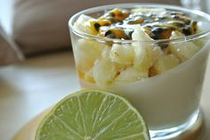Battle Food # 22 : Panna cotta citron vert, ananas et coulis de fruit de la passion