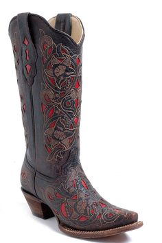 black and red cowgirl boots | Women's Corral Boots Lasered Red Inlay Cowgirl Boots