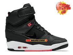 Chaussure Montante Nike Pas Cher Pour Femme Nike Air Revolution Sky Hi 2015 Noir/Noir/Infrarouge Rouge 599410-016