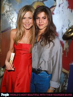 Jennifer Aniston in 2013 and 1990
