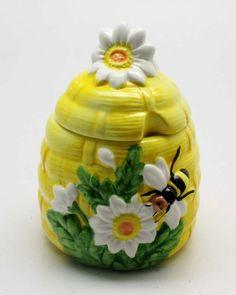 Ceramic Yellow Honey Pot Bee Flower Decoration