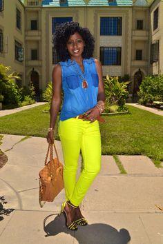 Sleeveless Denim Shirt + Neon Skinnies + Neon Sandals