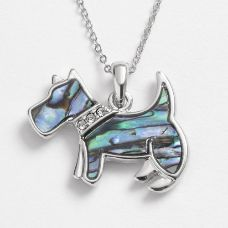 Paua shell Scotty dog with diamante collar pendant on chain.