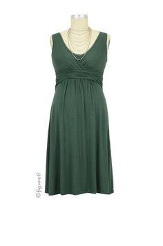 7b428ca304580 Ava Sleeveless Wrap Maternity   Nursing Dress in Myrtle Green by Mothers en  Vogue