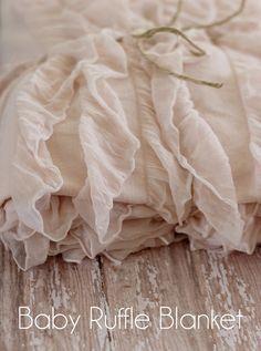blush colored baby ruffle blanket