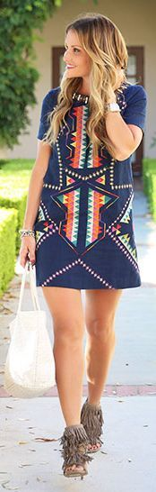 D K W Styling Geo Print Shift Little Dress