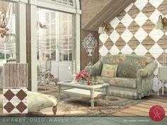 Shabby Chic Walls by Cross Architecture for The Sims 4