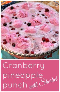 Cranberry pineapple punch with Sherbet from Clever Housewife. The perfect punch recipe for holiday celebrations. Thanksgiving Punch, Holiday Punch, Christmas Punch, Christmas Drinks, Holiday Drinks, Fun Drinks, Yummy Drinks, Holiday Recipes, Party Drinks