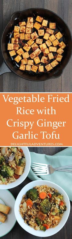 Looking for a quick weeknight dinner idea? This Vegetable Fried Rice with Crispy Ginger Garlic Tofu is perfect, and you'll have leftovers for lunches. Vegan and Gluten-Free.