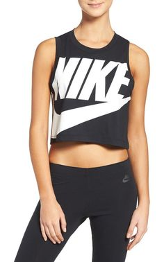 sportswear essential crop tee by Nike. Bold logo graphics add to the signature sporty style of a crop tee cut from lightweight jersey fabric.