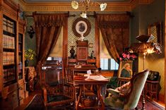 In the library, the design for the hand-stenciled walls was shamelessly stolen from the Mark Twain House in Hartford, Connecticut; interior decoration in that house is a masterpiece by Tiffany's Associated Artists.