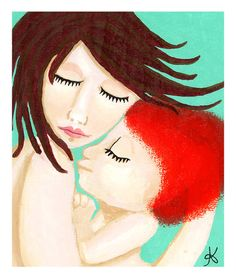 Natural Parenting or Attachment Parenting painting by Mother Nature Mama on Etsy