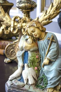 Antique Infant Jesus Statue, Chalkware, Timeworn Finish, Dated 1921 by edithandevelyn on Etsy