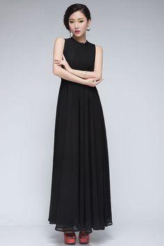 #Black #Chiffon #Sleeveless #MaxiDress#SS16 @ ShanghaiTrends.co.uk