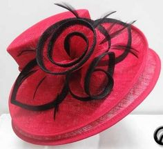 Ladies Bright Red & Black Double Brim Hat,Races,Wedding,Equine,Shows,Hat Making