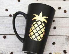 Pineapple // Matte Black Coffee Mug