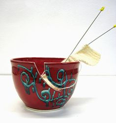 Yarn Bowl, Crochet Bowl, Red Simplicity, Knitters gift, LARGE Pottery Bowl turquoise designs