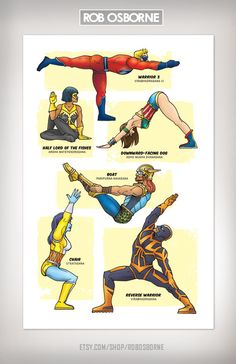 LOVE yoga an superheros so here you go...    SUPERHERO YOGA Super Pop Art Print 11x17 by Rob by RobOsborne, $19.95