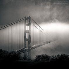 Golden Gate Bridge with fog by Eddie OBryan