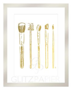 Makeup Brushes Eyeshadow Blush Beauty Guru Gift Budoir Designer Foil Print Art…