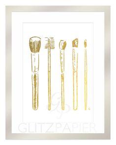 Makeup Brushes Eyeshadow Blush Beauty Guru Gift Budoir Designer Foil Print Art Chic Gold / Silver Elegant Pretty Girly Home Decor Bling 24K (WANT WANT WANT)