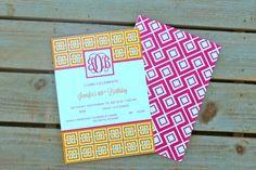 Printable Invitations Pink and Orange by BloomDesignsOnline, $14.00