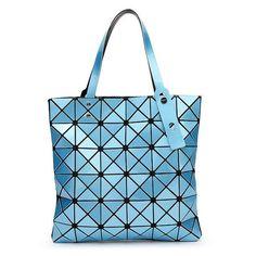 4038c6318b With Logo Women Geometric Plaid Bag Folded Madam Casual Tote Top Handle  Distortion Package Shoulder Bag Bao Bao Pearl BaoBao
