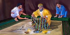Achan hides the stolen gold bar, silver pieces, and beautiful robe in his tent Free Bible Images, Bible Pictures, Israel, Bible Cartoon, Arte Judaica, Luke 12, Tribe Of Judah, Christian Pictures, Man Of War