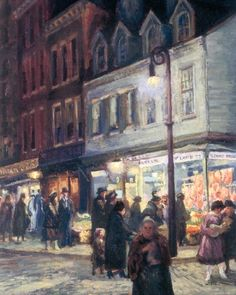 """John Sloan """"Bleeker Street Saturday Night"""" (detail), oil on canvas, 26 x 32 inches, Painted in 1918."""