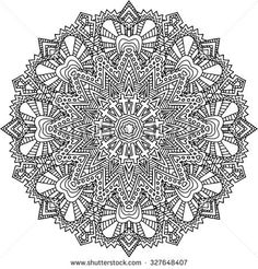 Black and white hand drawn abstract kaleidoscope vector illustration ...