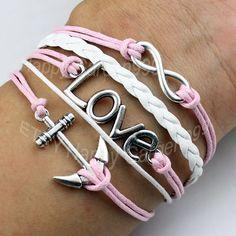 Love braceletInfinity braceletAnchor by happygarden999 on Etsy, $5.29