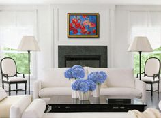 """modern decor, Red poppy flower Painting Wall art Original 18x24"""" red home decor, turquoise blue green & metallic gold shimmer on Etsy, $437.00"""