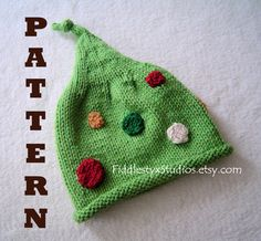 Baby Elf Hat Pattern Red Green Christmas Knitting Pattern Infant Toddler Newborn Photo Prop Kids Children Clothing DIY PDF Pattern. $4.99, via Etsy.