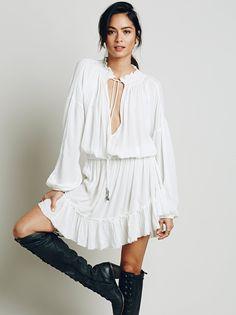 Boho Sweet Peasant Dress w/ Lantern Sleeves