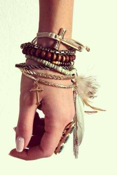 Bohemian style, layering bracelets for amazing arm candy with a bohemian style.